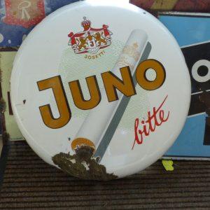 Emaille Schild um 1950, Juno bitte