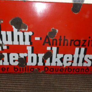 """Emaille Schild Ruhr- Eierbriketts """"Der billige Dauerbrand"""""""